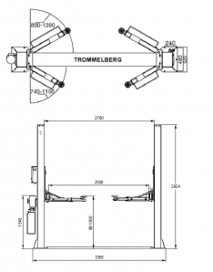 TST40M – TWO POST LIFT WITH MECHANICAL SAFETY LOCKING